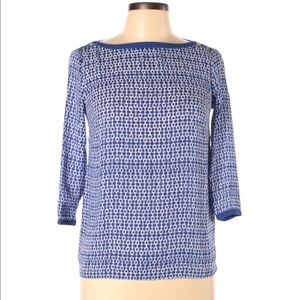 BANANA REPUBLIC / blue/white 3/4 sleeve blouse